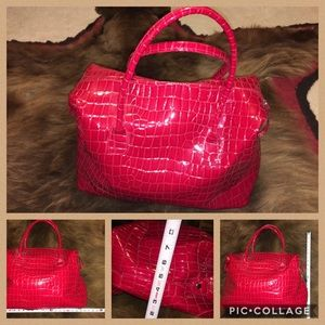 Handbags - Bright Shiny Alligator Print Weekender Tote